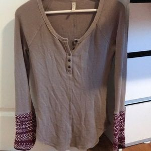 Free people button thermal with sleeves